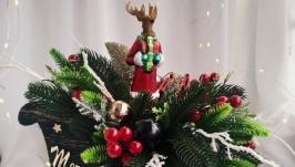 Новорічний декор, новорічні сани, новорічний декор на стіл