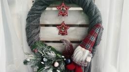 Новорічний вінок, новорічний гном, різдвяний віночок