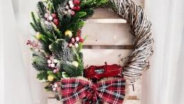 Новорічний вінок, різдвяний вінок, вінок на двері