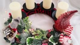 Настільний вінок, настільний різдвяний декор, вінок на стіл