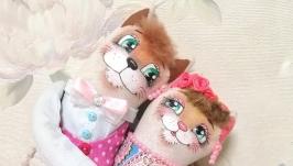 Котики неразлучники льняные в одежде