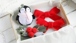 Детские новогодние заколки для девочки Набор заколок в подарок
