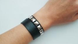 Кожаный браслет (пара браслетов) ′BlackSilver′