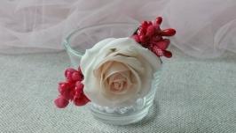 Заколка с розой для волос