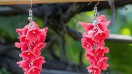 Серьги с розовыми цветами (16)