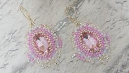 Серьги классические::свадебные розовые с апалитом Нежность