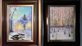 Миниатюры Зимний рассвет и Зимний лес