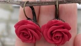 Серьги с красными розами 23