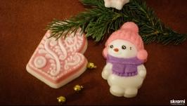 Набор мыла ручной работы ′Снеговик и варежка′