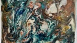 Панно из эпоксидной смолы Море и Изумрудная зима
