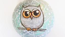 Шкатулка круглая ′Снежный совенок′