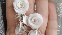 Серьги с перломутровыми розами (25)