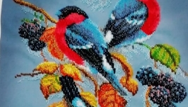 painting ′Bullfinches on a blackberry′