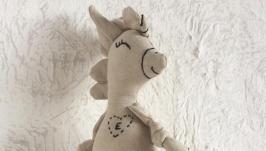 Еко іграшка з льону. Єдиноріг лошадка з ініціалами. Літера Е.