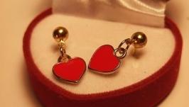Серьги сердце , пуссеты , золотые серьги , подвеска сердце