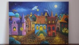 Ангел над городом картина маслом