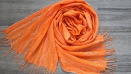 Felted cobweb scarf, Orange shawl