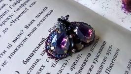 Брошка Мушка фіолетова