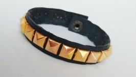 Кожаный браслет ′GoldSq′