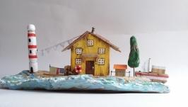 Интерьерная композиция Домик смотрителя маяка, домики дрифтвуд