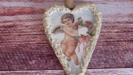 Сердце подвеска из сосны