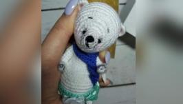 Белый коллекционный подарочный миниатюрный мишка