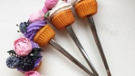ложки с декором из полимерной глины