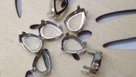 Цапи, оправи для страз-крапель 14х10 мм колір срібло