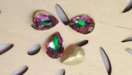 Стрази краплі 14х10 мм фіолетово-зелені