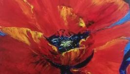 Картина ′Мак′, холст, масло, мастехин, размер 60х60 см