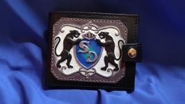 Кожаный кошелек ′ПАНТЕРА′ с инициалами