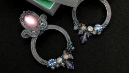 Сутажные серьги с кристаллами