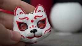 Кулон з японської маскою кішки, кулон кішка, японська маска
