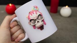 Чашка з декором з полімерної глини ′Солодкий череп′, чашка з черепом