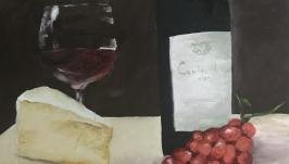 Картина сыр и вино на холсте акрил