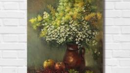 Картина маслом ′Полевые цветы′ 50х40 см, холст на подрамнике, масло