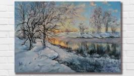 Картина маслом ′Снежная зима′ 30х45 см, холст на подрамнике, масло