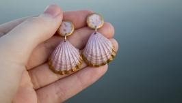 Морські літні сережки черепашки рожевого кольору, сережки-гвіздочки