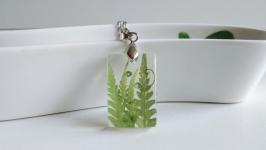 Кулон з натуральными листьями папоротника.