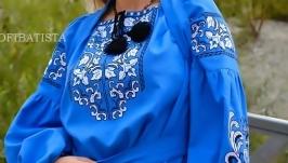 Блузка вышитая на льне