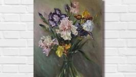 Картина маслом ′Ирисы′ 40х30 см, холст на подрамнике, масло