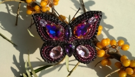 Purple butterfly brooch with Swarovski elements Embroidered gift for her