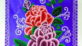 Картина с розами, в стиле роспись.