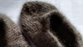 тапочки вязаные из пуха собаки тибетский мастиф
