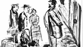 Толстый и тонкий. Иллюстрация к рассказу А.П. Чехова
