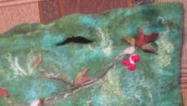 сумка валяная цвета малахит ′Снегири′