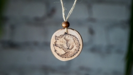 Round Wooden Pendant. Wooden Necklace Fox