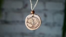 Round Wooden Pendant. Wooden Necklace Fox