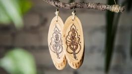Natural Wooden Dangle Earrings. Pyrography Earrings for Women