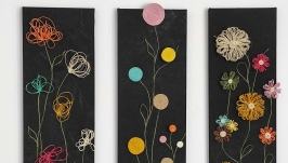 Painting triptych Flowers as a handmade gift